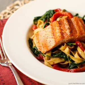 Linguine with Steelhead, Spinach and Peppers