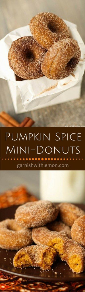 Who can resist mini-donuts? These Baked Pumpkin Spice Mini-Donuts are filled with all the flavors of fall like cinnamon, nutmeg and cloves.