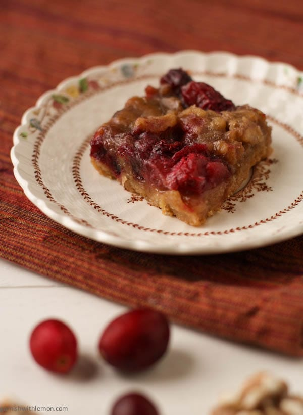Cranberry bars with candied walnuts