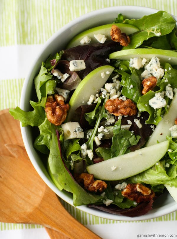 Mixed Green Salad with Blue Cheese Crumbles and Candied ...