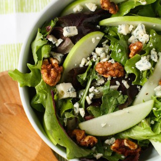 Mixed Green Salad with Blue Cheese Crumbles, Apples, and Candied Walnuts