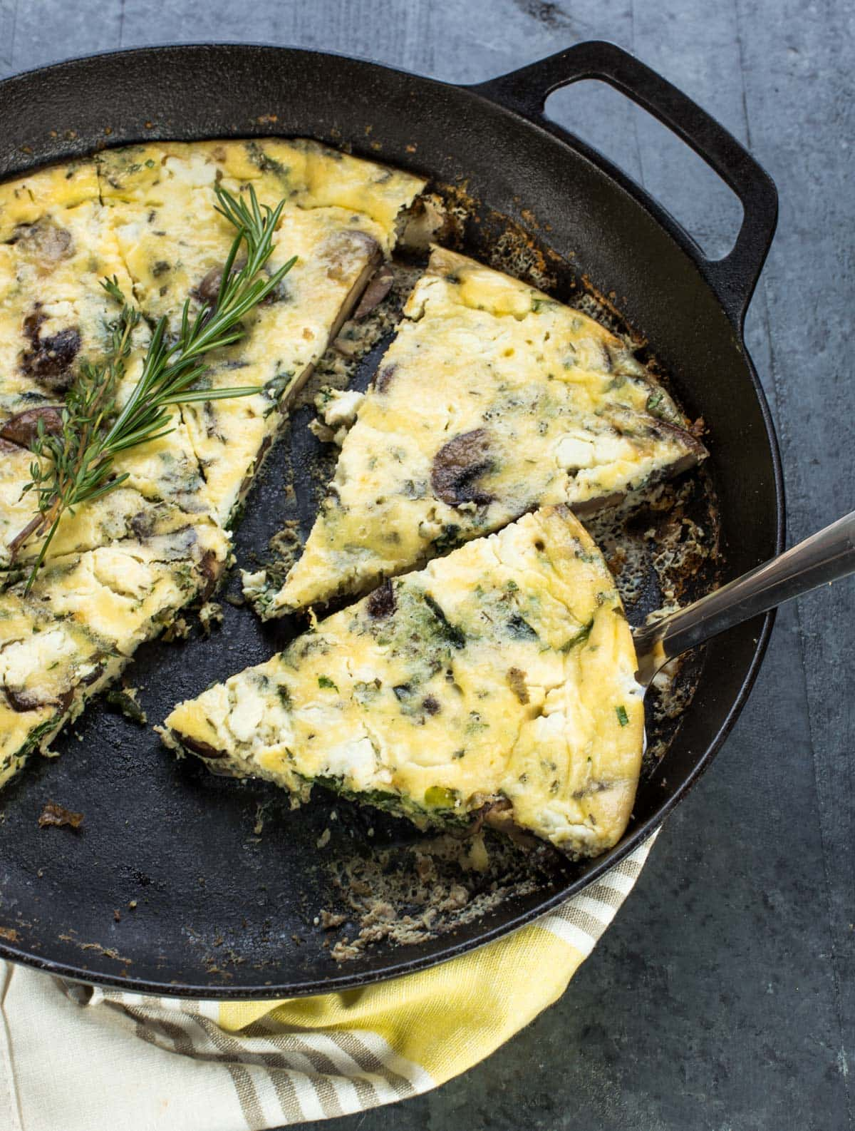 This savory Mushroom and Goat Cheese Frittata recipe is one of the tastiest ways to serve eggs to a group of people.