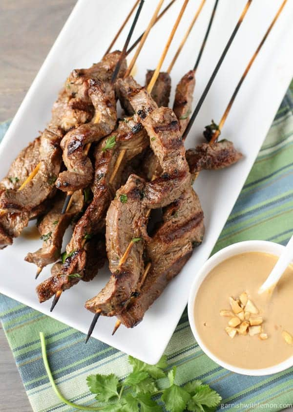 Beef Satay with Thai Peanut Dipping Sauce - Garnish with Lemon