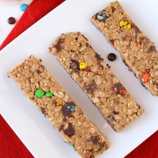 Chewy Granola Bars with Peanut Butter and M&Ms feature