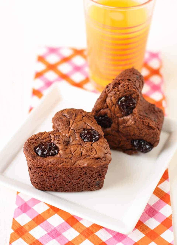 Chocolate Muffins with Dried Cherries - Garnish with Lemon
