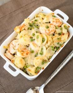 Creamy Gruyere and Shrimp Pasta with Peas