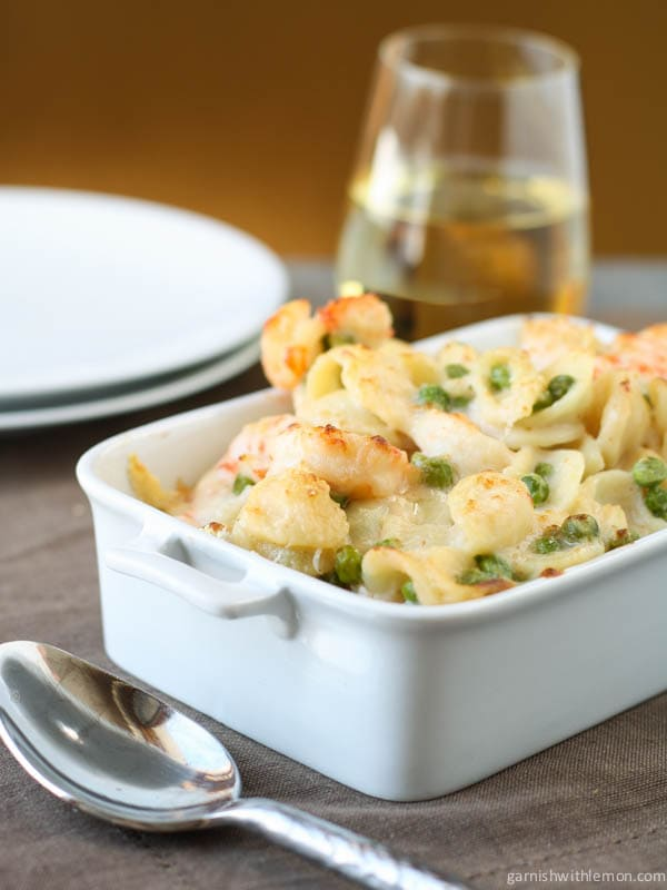 Creamy Gruyere and Shrimp Pasta with Peas