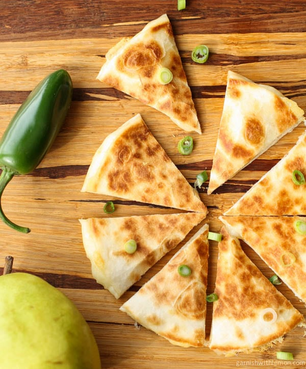 Monterey Jack Quesadillas with Pear Salsa