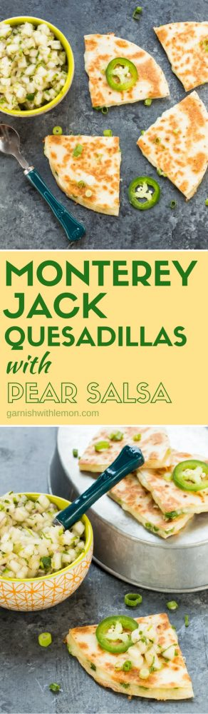 These crowd-pleasing Monterey Jack Quesadillas with Pear Salsa are always the first snacks to go at parties! They make a great quick and easy dinner, too!