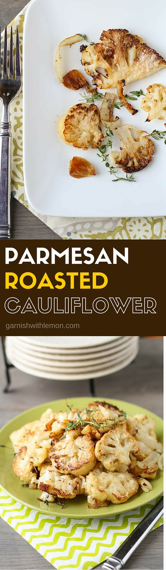 Do not miss this super-delicious & SUPER EASY side dish! Parmesan Roasted Cauliflower is filled with the flavors of fresh thyme, caramelized onion & garlic.