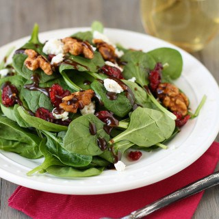 Spinach Salad with Goat Cheese, Craisins and Balsamic Vinaigrette