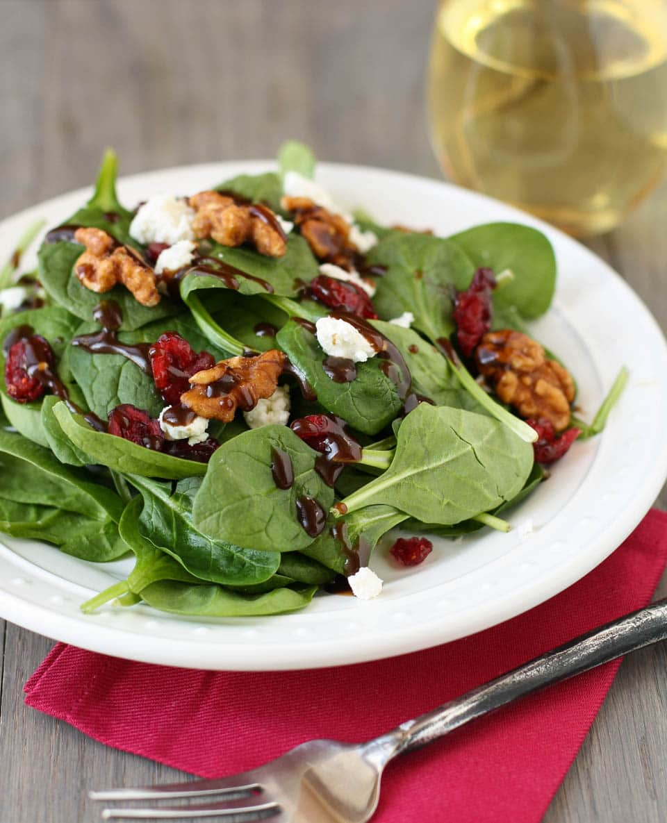 Spinach Salad with Goat Cheese, Craisins and Balsamic ...