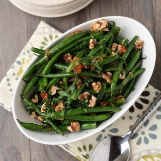 Green Beans with Warm Bacon Vinaigrette
