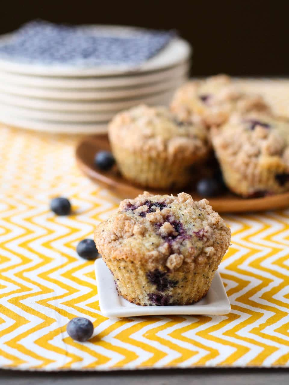 Blueberry Lemon Poppyseed Muffins - Garnish with Lemon