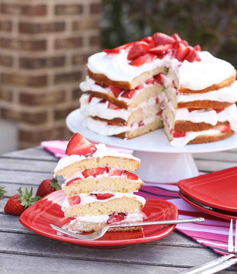 Strawberry Layer Cake - Garnish with Lemon