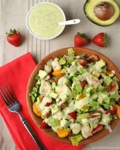Chicken Strawberry Salad with Avocado Poppy Seed Dressing
