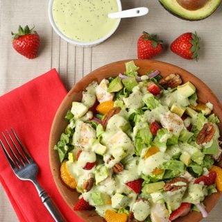 Chicken Strawberry Salad with Avocado Poppy Seed Dressing