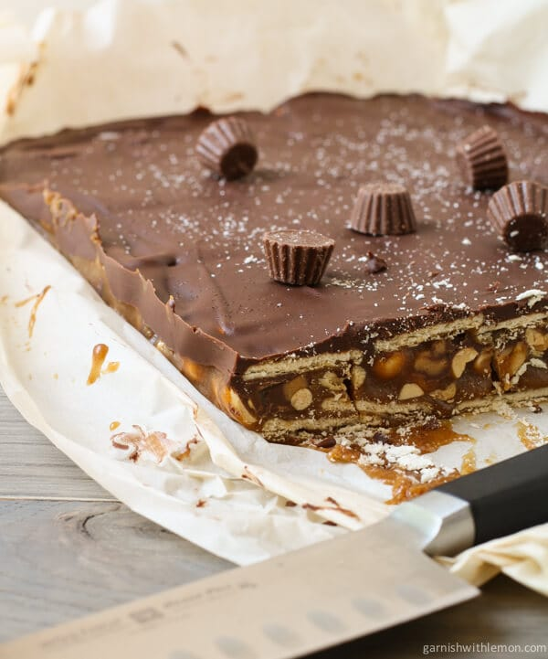 Chocolate Caramel Peanut Bars Recipe — Dishmaps
