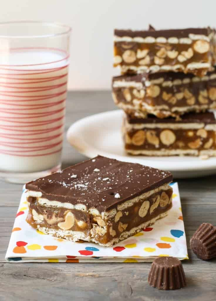 Chocolate Caramel Peanut Bars - Garnish with Lemon