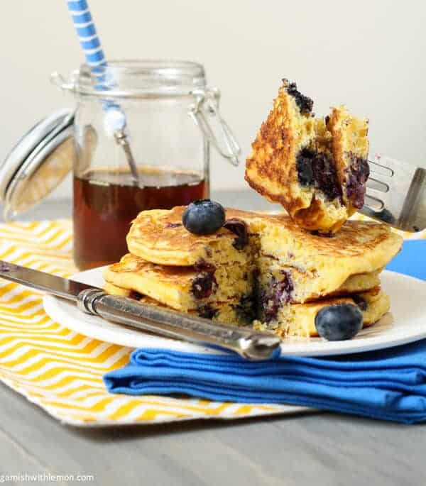 Blueberry Cornmeal Pancakes - Garnish with Lemon