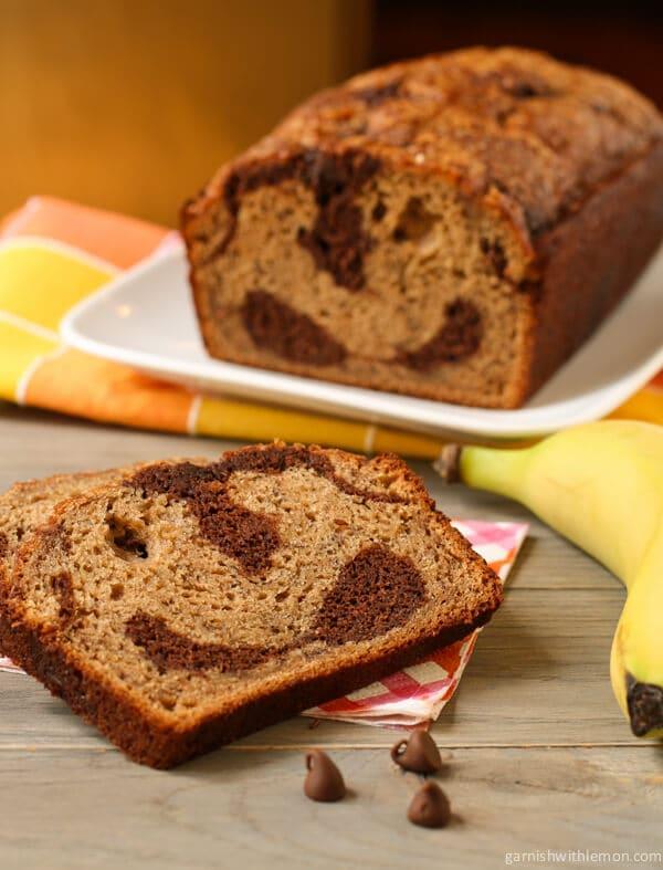 Chocolate Marbled Banana Bread - Garnish with Lemon