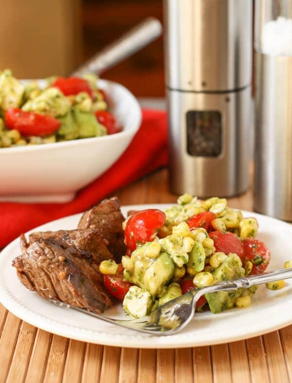 Grilled Corn, Tomato and Mozzarella Salad