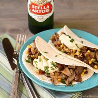 Mushroom, Corn and Poblano Soft Tacos with Avocado Cream