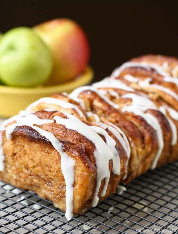 Apple Cinnamon Pull Apart Bread on rack.