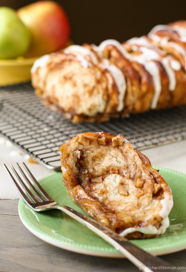 Apple Cinnamon Pull Apart Bread ripped apart with fork.
