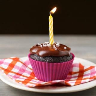 Devil's Food Cupcakes with Salted Caramel and Chocolate Ganache and our One-Year Blogiversary!