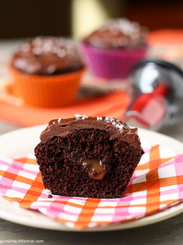 Devil's Food Cupcakes with Salted Caramel and Chocolate Ganache
