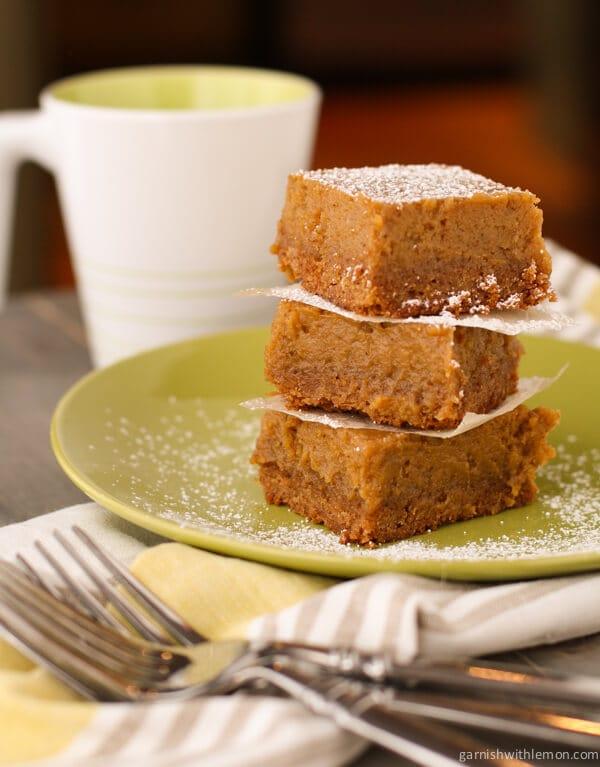 Pumpkin Butter Quick Bread Bars - Garnish with Lemon