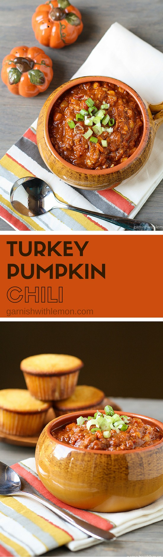 Turkey Pumpkin Chili is the perfect twist on chili for fall. Savory, smoky and delicious and can be made in your crock pot or on the stove top.