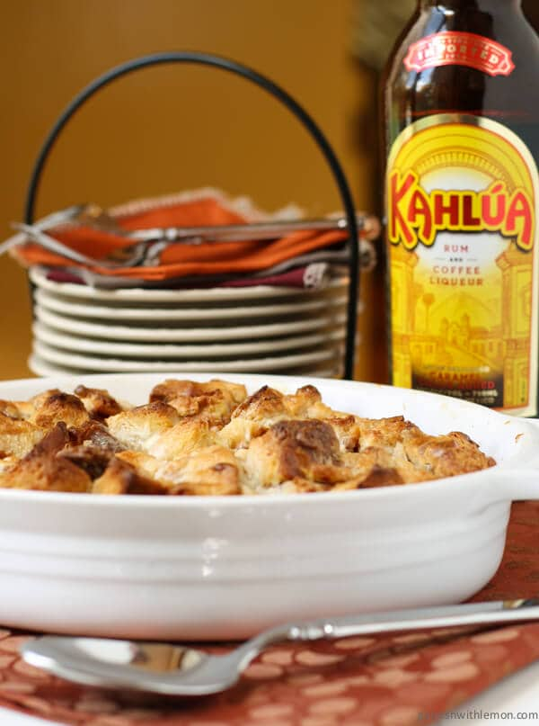 Kahlúa Bread Pudding with White Chocolate Kahlúa Sauce