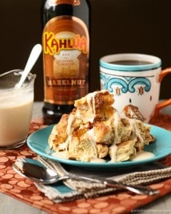 Kahlua Bread Pudding with White Chocolate Sauce