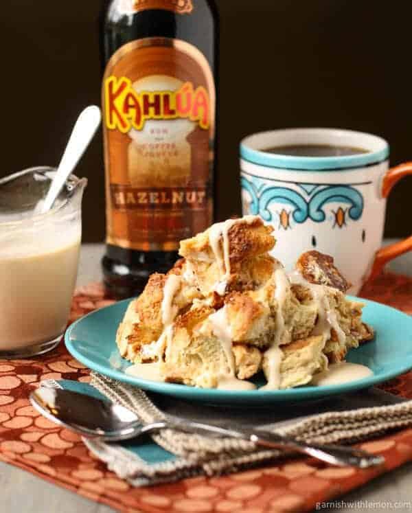 Kahlúa Bread Pudding with White Chocolate Kahlúa Sauce