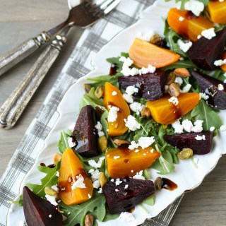 Roasted Beet and Arugula Salad with Pistachios and Goat Cheese