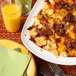 Cheese, Bacon and Tomato Strata