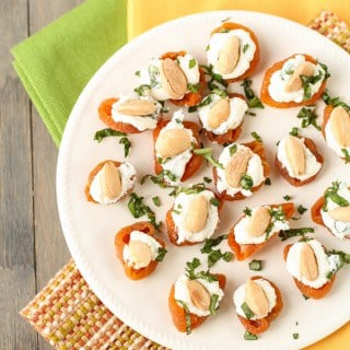 Apricots with Goat Cheese, Basil and Marcona Almonds