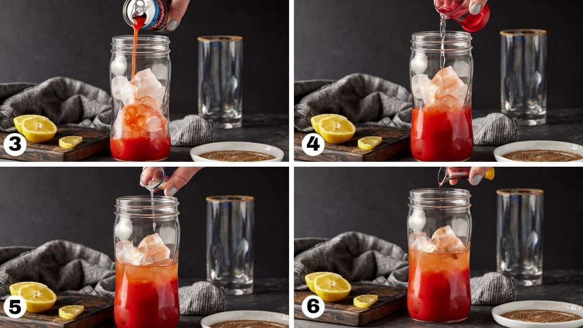 steps 3-6 of making a bloody mary
