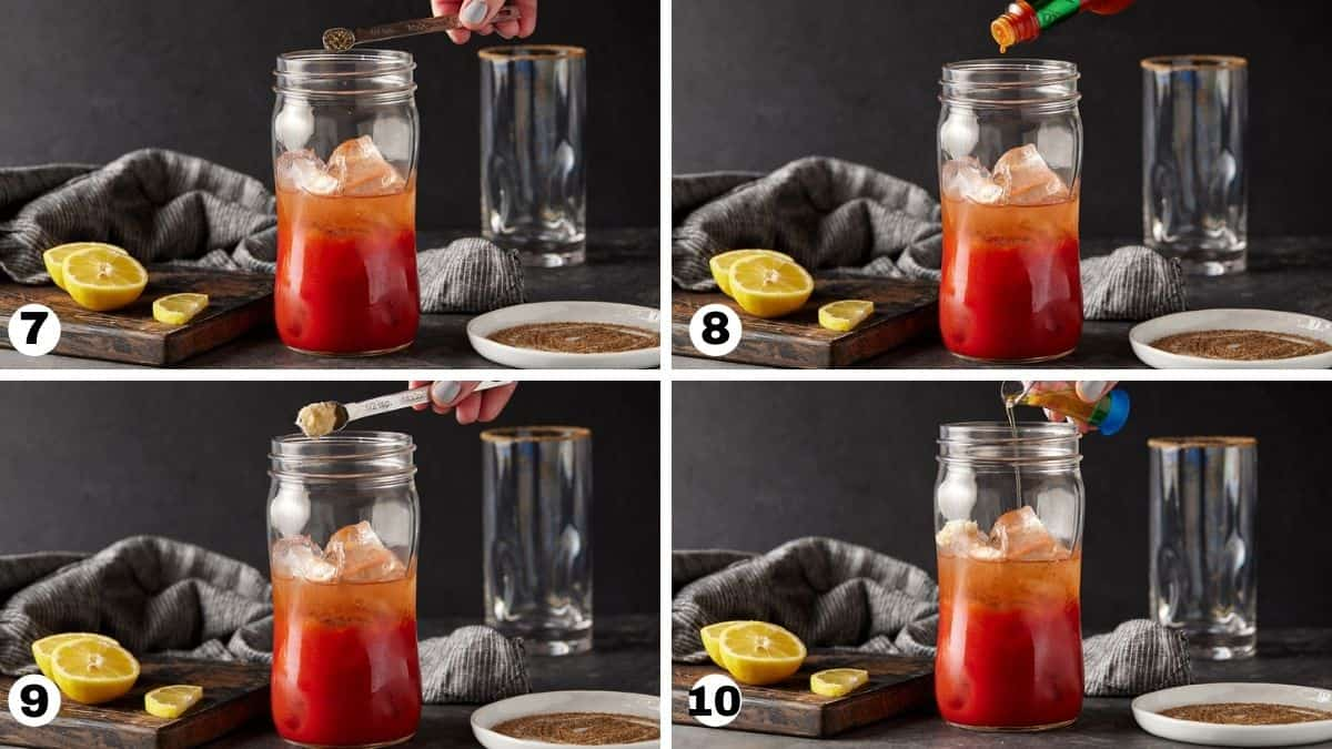 steps 7-10 of making a bloody mary