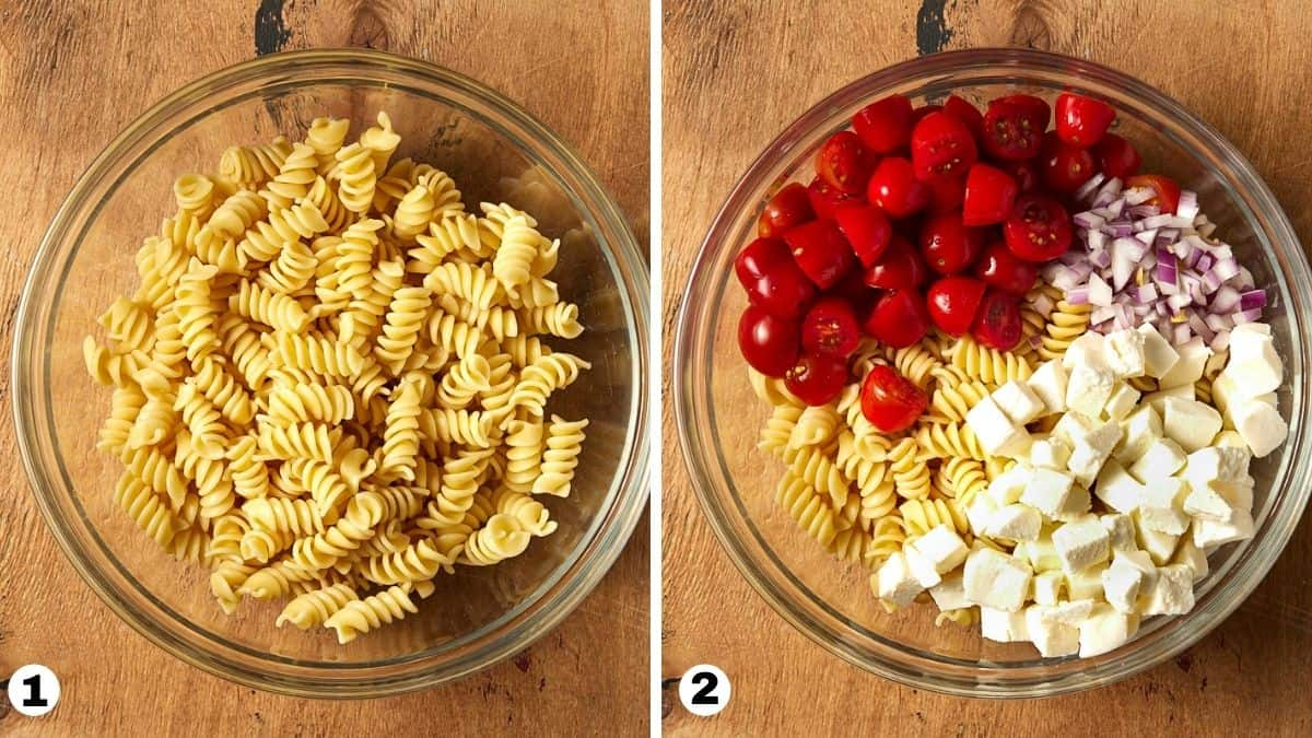 steps 1 and 2 for caprese pasta salad.