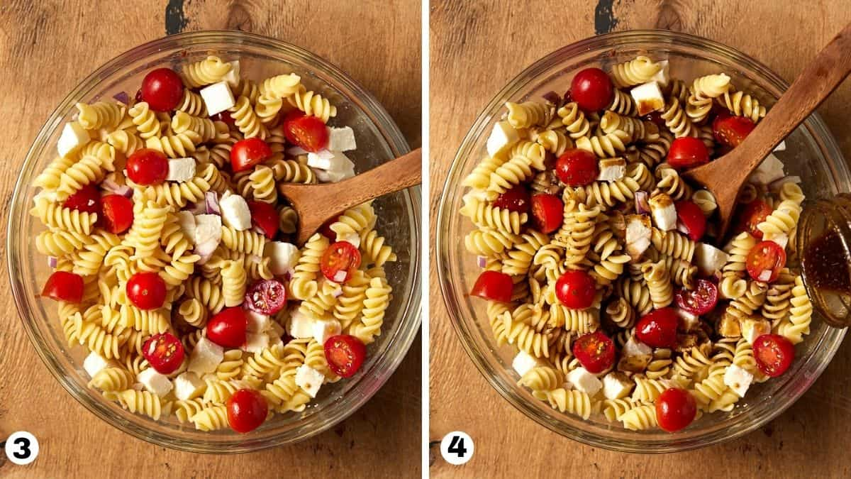 steps 3 and 4 for pasta salad.