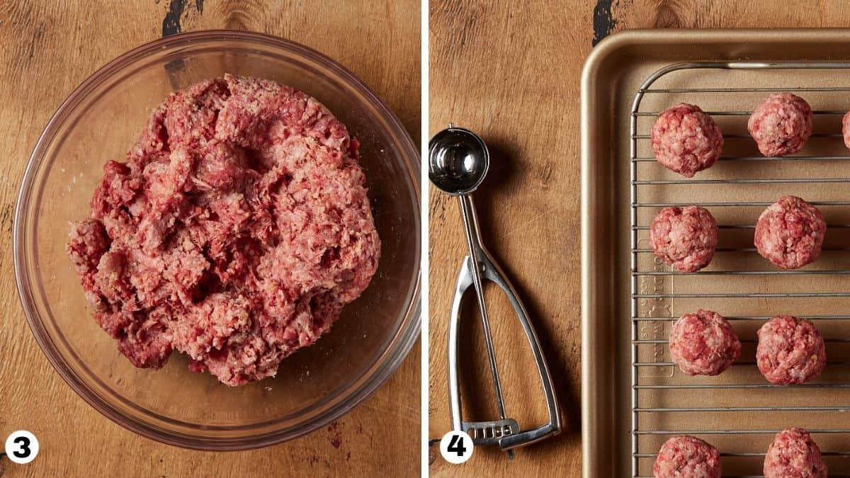 Steps 3 and 4 making greek meatballs.