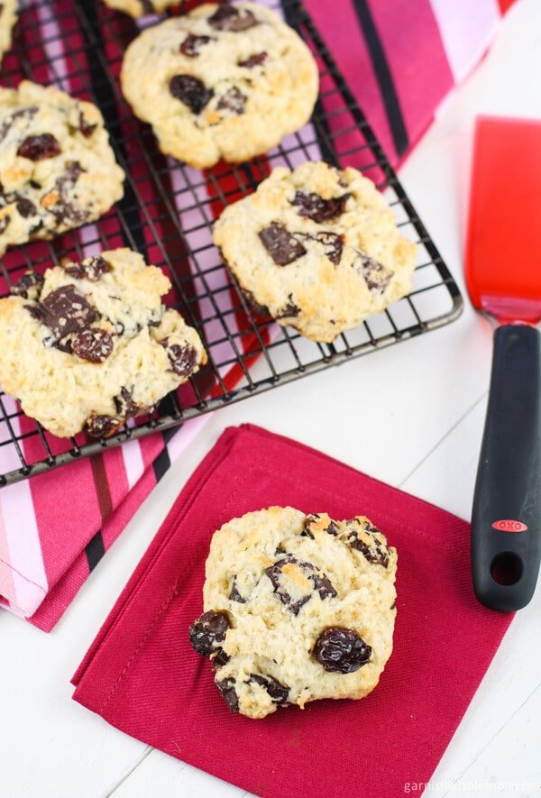 Dark Chocolate Cherry Scones - Garnish with Lemon