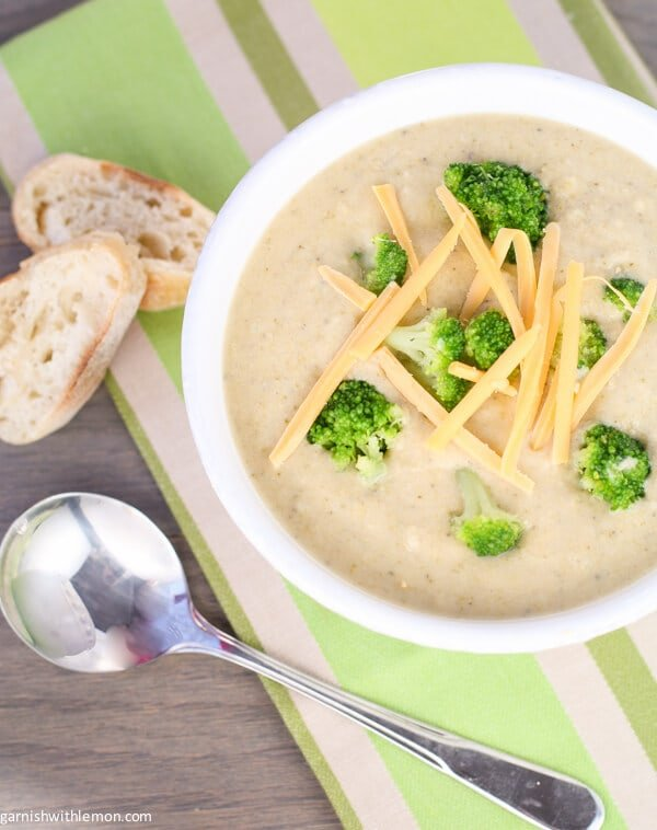 Crock Pot Broccoli Cheese Soup that is made in the slow cooker. You'll never use another recipe. Perfect winter comfort food that warms the soul.