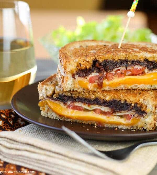 Grilled Gruyere, Cheddar and Olive Tapenade Sandwich