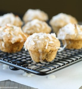 Coconut Banana Mini Muffins with Lime Glaze