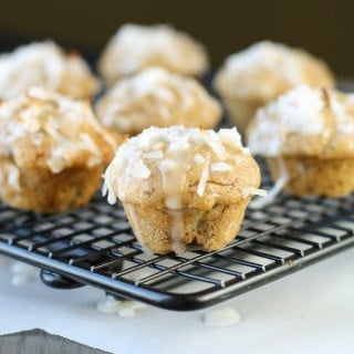 Coconut Banana Bread Mini Muffins with Lime Glaze