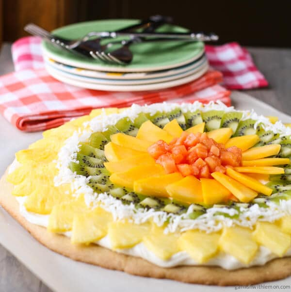 Tropical Fruit Pizza with Coconut Cream Cheese Frosting